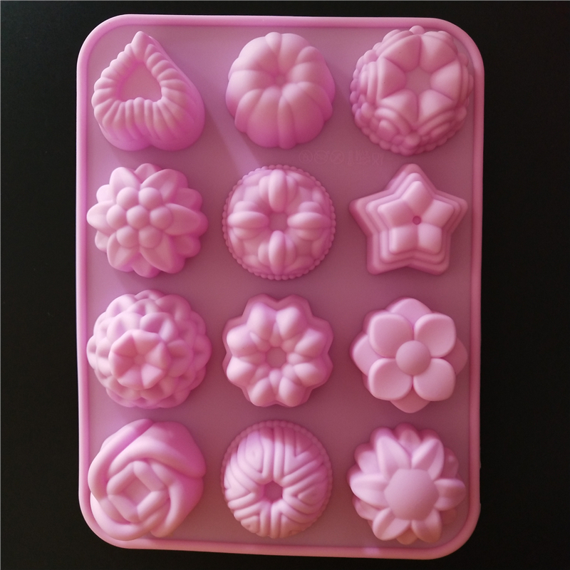 Silicone Cake Decoration Mold 12 Different Flower-Shaped 3D Silicone Moon Cake Mold DIY Handmade Soap Baking Tool Free Shipping