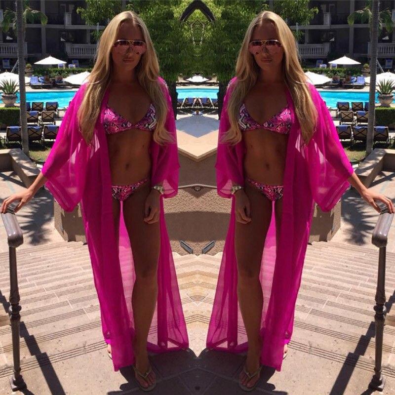 Women Sexy Chiffon Long Dress Sarong Pareo Beach Dress Long Sleeve Loose Sundress See Through Summer Sundress