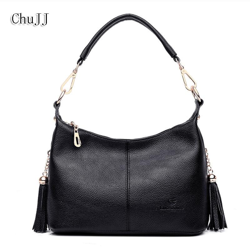 Chu JJ Women's Genuine Leather Handbags Cow Leather Tassel Shoulder CrossBody Bag Ladies Messenger Bags Women Bags