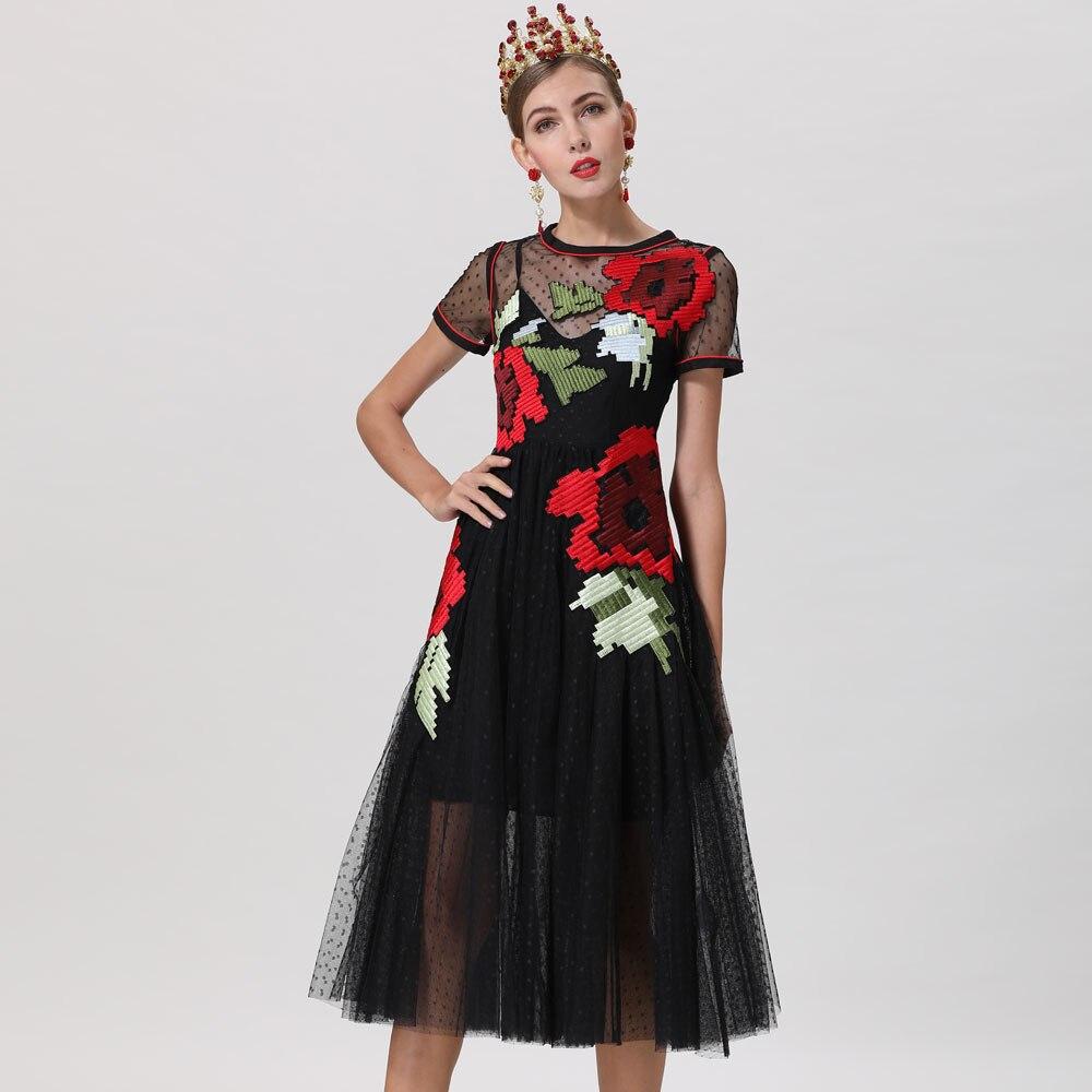 Courtes Designer Noir Sexy 2019 Été Manches Rouge Élégant Robes Femme Femmes Nouvelle Robe Roosarosee Broderie Printemps À wCwHqpxT