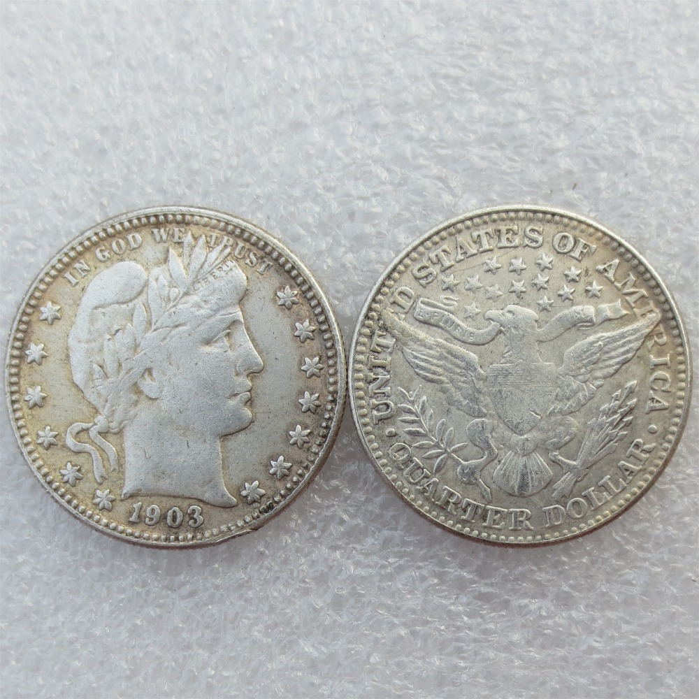 Barber Quarter Dollars Date 1903 1903O 1903S Different signs Material Silver Plated or 90% Silve Copy Coin Free Shipping