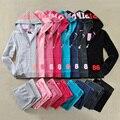 Nueva moda otoño 2016 para mujer vs amor rosa trajes de terciopelo de calidad chándales tops sudadera con capucha n pantalones 2 unidades establece para las mujeres