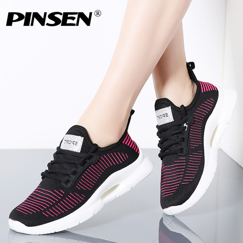 PINSEN 2019 Girls Sneakers Breathable Informal Sneakers Excessive High quality Lace-up Sneakers Girl Basket Femme Women Sneakers zapatillas mujer Girls's Flats, Low cost Girls's Flats, PINSEN 2019 Girls Sneakers...