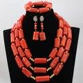 Синий Африканский WomNigerian Свадебные Африканские Оранжевый красный Коралловые Бусы Костюм Ювелирные Наборы