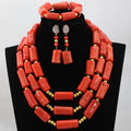 Blue African WomNigerian Wedding African Orange red Coral Beads Costume Jewelry Sets