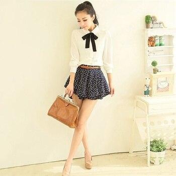 Fashion Women Elegant Bow Tie White Blouses Chiffon Casual Shirt Office Ladies Tops School Blusas Female Clothing new 6