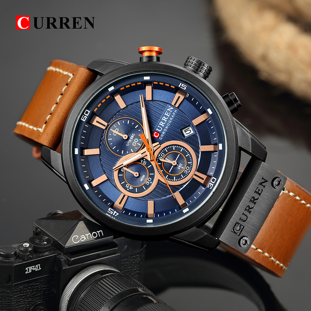 CURREN Luxury Brand Men Military Sport Watches Mens Quartz Clock Leather Strap Waterproof Date Wristwatch Reloj Hombre