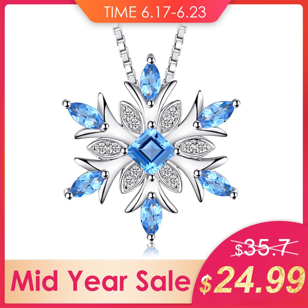 Bijourypalace flocon de neige topaze bleue naturelle 925 pendentif en argent Sterling collier 45 cm boîte chaîne mode bijoux fins pour les femmes