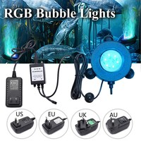 Smuxi RGB Underwater Round Fish Tank Lamp 6 LEDs Air Bubbles Aquarium Submersible Light Festival Home
