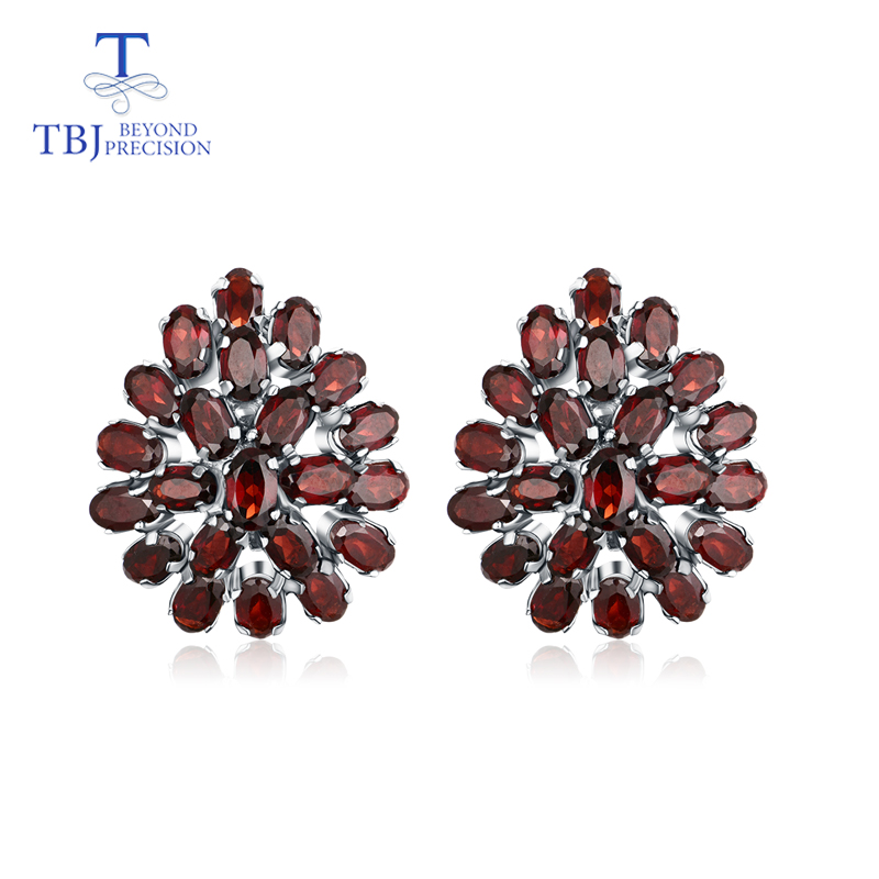 TBJ,The latest flower shape garnet clasp earring 925 sterling silver fine jewelry for women daily wear fashion as Chrismas gift the best chrismas