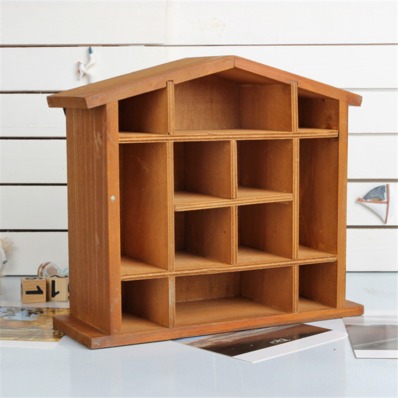 handmade 12 grids rack wall hanging wooden storage shelf wooden