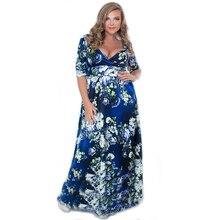 XXL-4XL 5XL 6L Large Size Autumn Dress Women Flower Print V-neck A-line Maxi Long Dresses Plus Size Clothing XXXL XXXXL XXXXXL