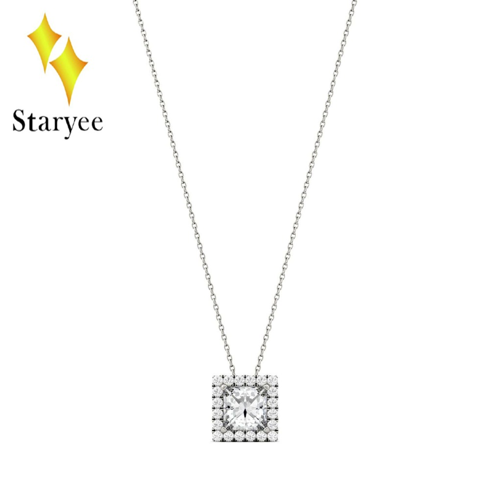 Genuine 18K 750 White Gold DEF Color 1.7ctw 6.5mm Test Positive Square Cut Moissanite Diamond Halo Pendant Necklace For Women 18k 750 white gold pendant gh color round lab grown moissanite double heart necklace diamond pendant necklace for women jewelry