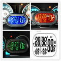 DC12V -24V  Multifunctional  Digital Hour Meter Car Thermometer Voltmeter Clock Auto Gauge Clock Freeze Alert Temperature Meter
