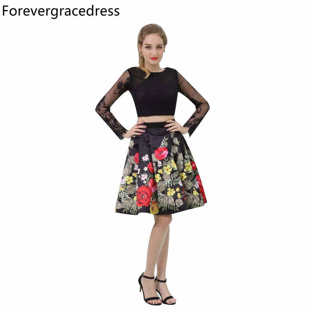 Forevergracedress Real Picture Floral Print   Cocktail     Dress   With Long Sleeves Knee Length Short Homecoming Party Gown Plus Size