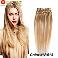 Color #12/613 Brazilian Virgin Hair Clip In Human Hair Extensions Full Head 70g-120g Platinum Blonde Remy Human Hair Clip In
