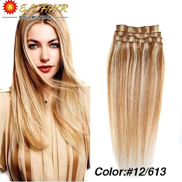 Color 12613 Brazilian Virgin Hair Clip In Human Hair Extensions