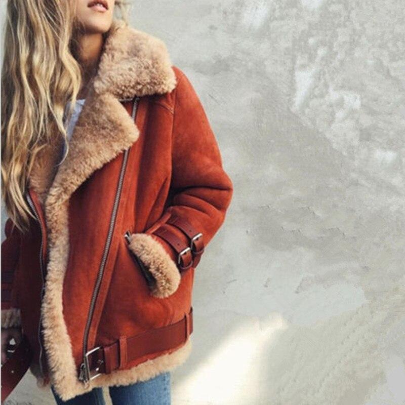 2018 Nouveautés Femmes Manches Longues Laine Manteau Aviateur Veste En Cuir Garder Au Chaud Épais Femmes Tourner-vers le bas Manteau D'hiver femmes Tops D180