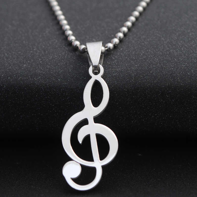 wholesale fashion Stainless Steel necklace silver color Music Notes pendant Beads Chain Necklace statement jewelery gift