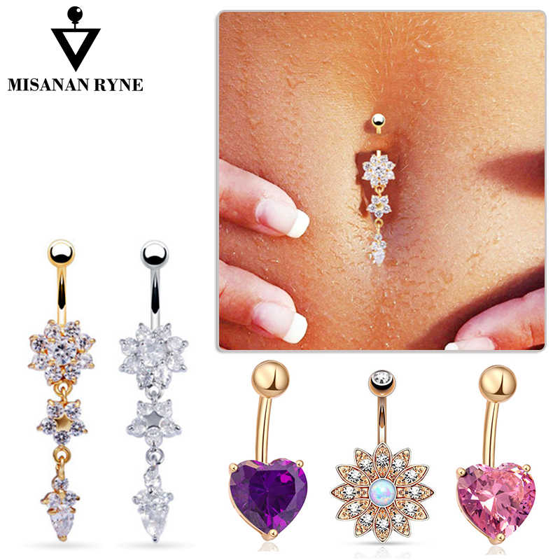 MISANANRYNE Summer 16 Style Umbilical Nails Navel Body Piercing Stainless Steel Crystal Belly Button Ring For Women Jewelry AY