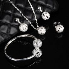ZOSHI Silver Color Ball Pendant Necklaces Drop Earrings Bracelets & Bangles For Women Wedding Party Bridal Jewelry Set Wholesale