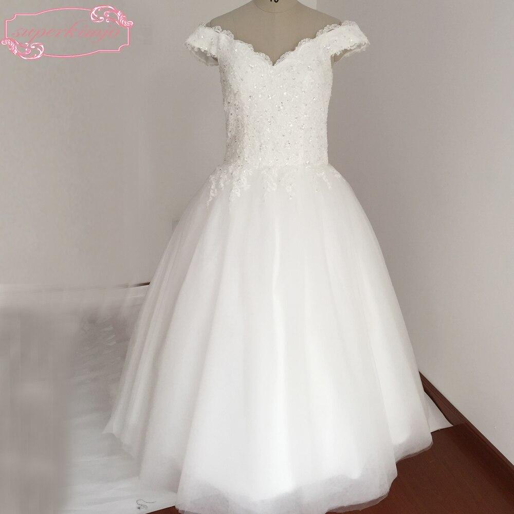Robes de mariée sur mesure longueur au sol Tulle dentelle Appliques blanc hors de l'épaule robes de mariée blanches nouveau