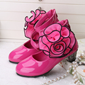 Red Pink Rose Girl PU Leather Shoes For Girls Party Big Flower Dance Children Kids Shoes 2-14Years Princess Child Wedding Shoes