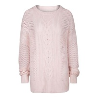 Women Casual Knitwear Autumn Hollow Long Sleeve Slim Knitted Round Neck Sweaters Pink Plain Women Elegant