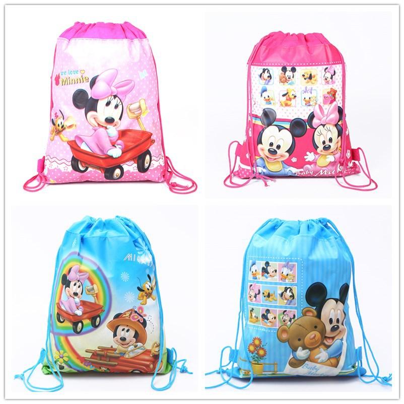 Disney new cartoon mickey mouse pattern bundle pocket double sided non woven cloth Drawstring bag school