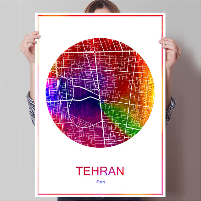 World Famous City Map TEHRAN Iran Print Poster On Paper Or Canvas Wall Sticker Bar