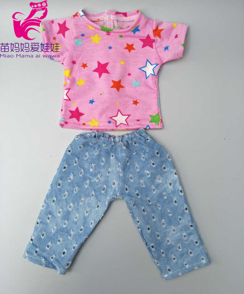 Кукольная одежда для 43 см 17 дюймов Детские кукольная кофточка и джинсы брюки 18 дюймов для девочек кукла-мальчик наряды Повседневная рубашка и брюки