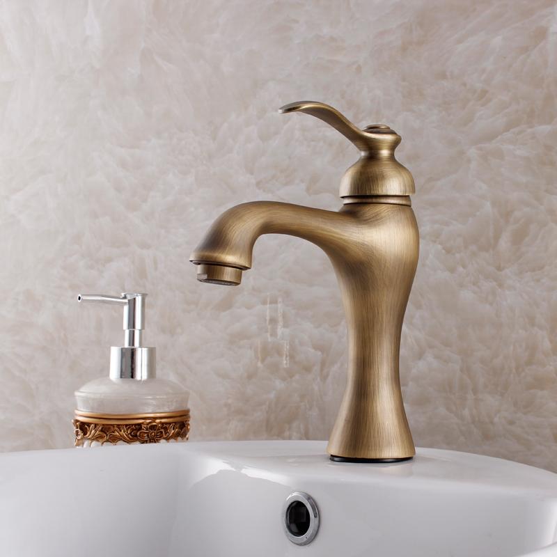 torneira grifos par lavabos da antiguidade do vintage moda retro acabamento lavagem nico furo torneira da