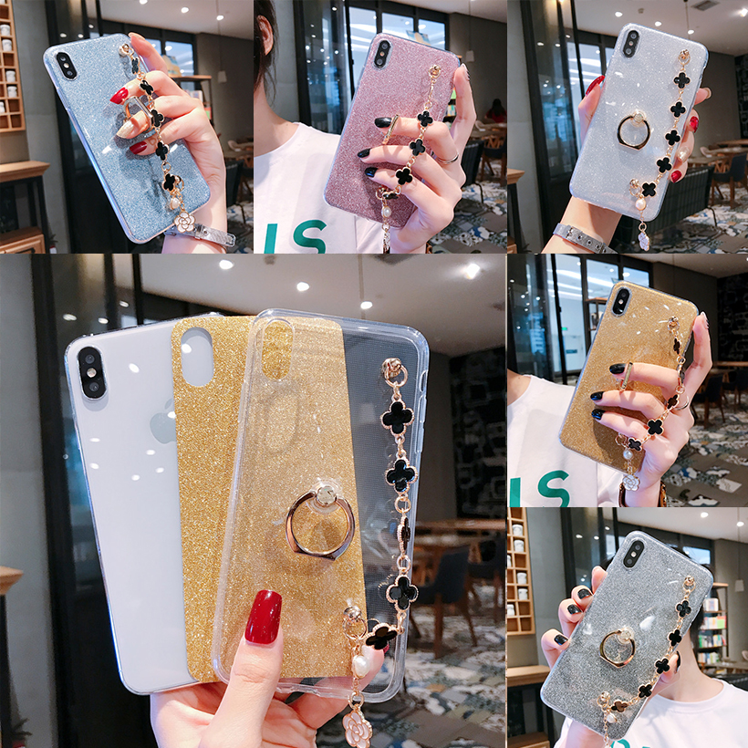 Bling Cases For <font><b>Huawei</b></font> Y9 <font><b>Y7</b></font> Pro Y6 Prime Y5 2019 Y3 ii 2019 <font><b>2018</b></font> 2017 Bling Ring Clover Covers Bumper image