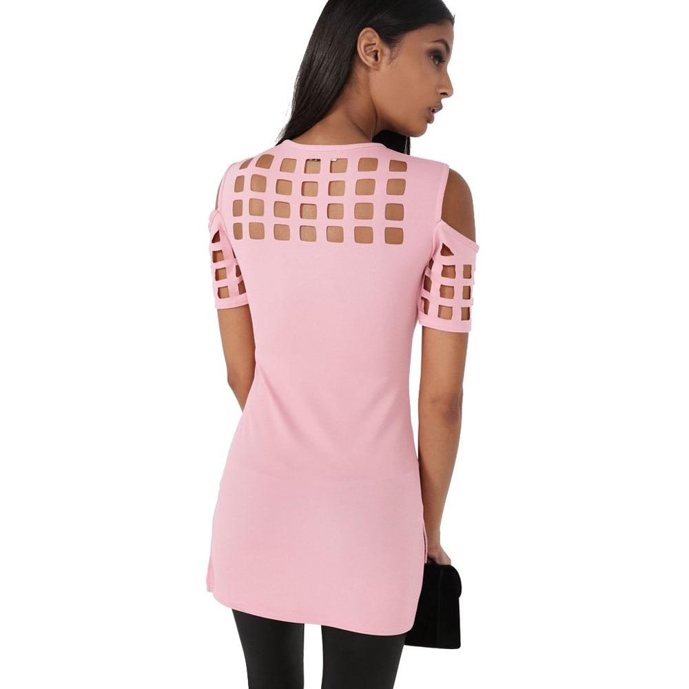 HTB1B.xfOVXXXXaHXXXXq6xXFXXX6 - T-shirts Women Fashion Off The Shoulder Hollow Out Short Sleeve