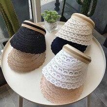 Женская шляпа, элегантная, летняя, кружевная, пустая, топ, модная, для спорта на открытом воздухе, шляпа, для пляжа, солнцезащитный козырек, tenis feminino, шапка, шапки