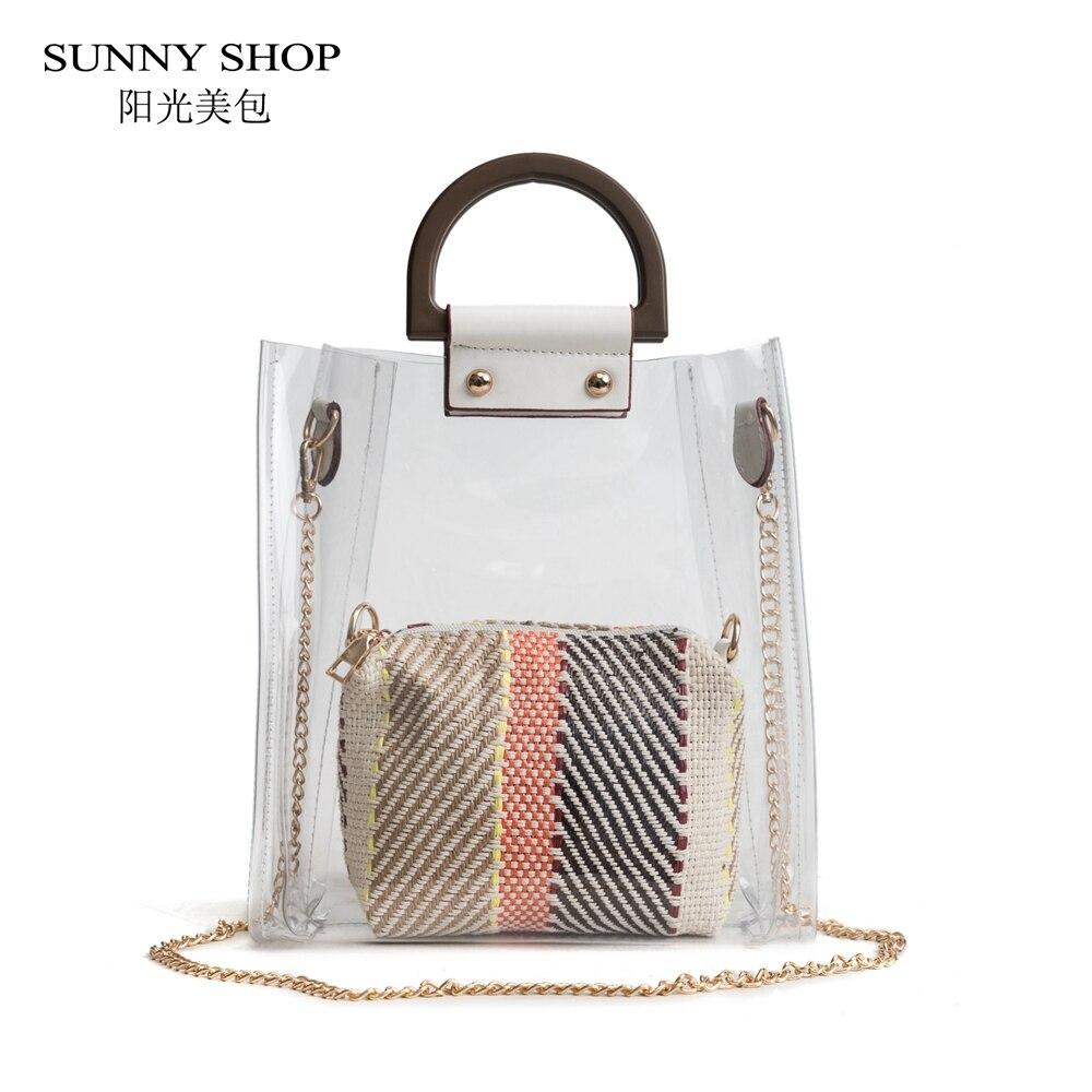 SUNNY SHOP Transparent PVC Bag Small Chain Crossbody Bag Women Beach Handbag Set With Straw Bags European Fashion 2018 Pink pink pvc crossbody bags with small pu bags
