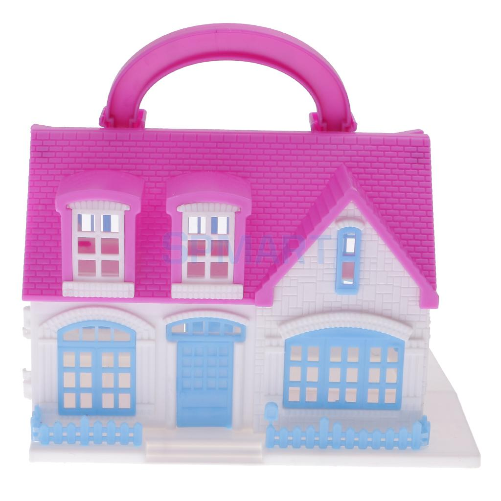 Dolls accessories plastic villa house for barbie dolls for Accessory house