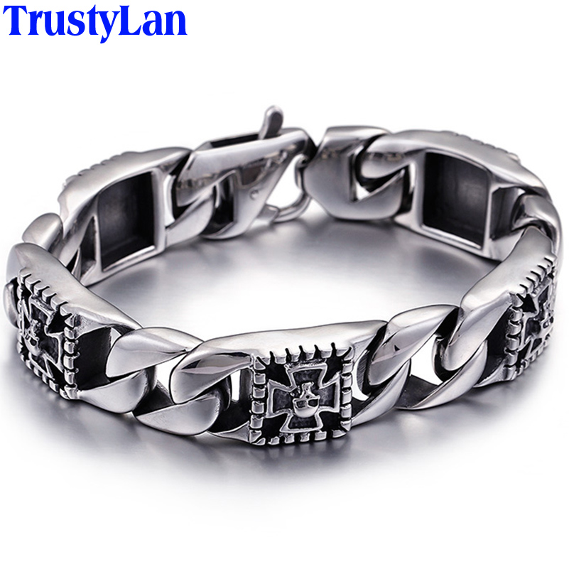 TrustyLan Punk & Hippers Skull Skeleton Bracelet Men 316L Stainless Steel Man Jewelry Ghost Mens Chain Bracelets & Bangles ...