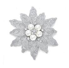 2.8 Inch Rhodium Silver Vintage Gaya Besar Daun Bunga Bouquet Pesta Bridal Bros(China)