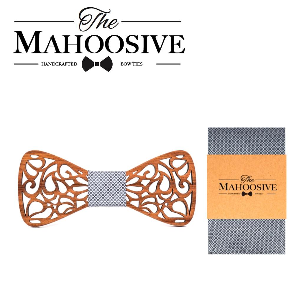 MAHOOSIVE Wooden Bow Ties Pocket Square Set For Mens Wedding Suits Wood Cravate Homme Noeud Papillon Bowtie Hadkerchief Set