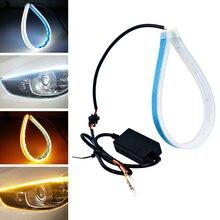 2PCS 30cm 45cm 60cm Flexible Car DRL Running Turn Signal Angel Eye White Amber LED Daytime Light Headlight Strip