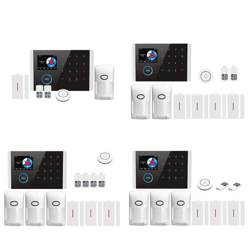 CS108 APP contrôle WiFi + GSM + GPRS système d'alarme antivol de sécurité à domicile LCD clavier tactile WIFI GSM système d'alarme capteur Kit