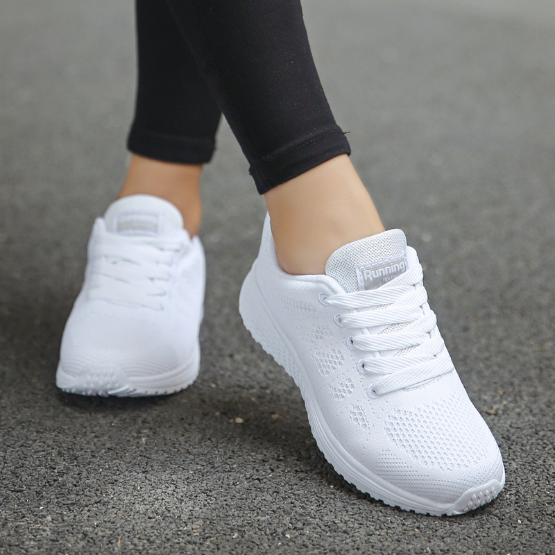 Akexiya White Sneakers Women Sport Shoes Lace-Up Running Shoes Woman 2019 Fashion Mesh Round Cross Straps Female Flat Sneakers