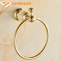 Wholesale And Retail Free Shipping Marble Brass Bathroom Towel Rack Holder Round Towel Bar Hanger Golden