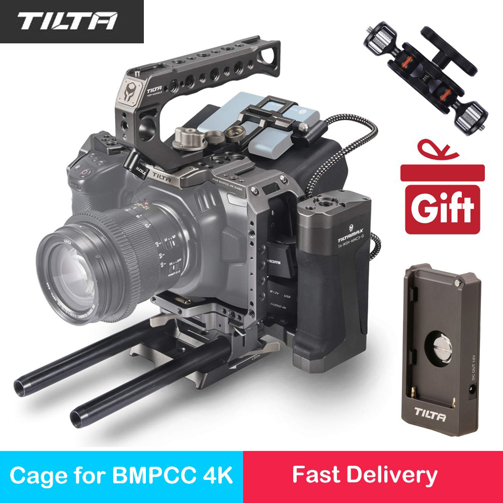 Tilta TA T01 A G Full Camera Cage Top Handle Wooden Side Handle F970 Battery Plate for Blackmagic Pocket BMPCC 4K / 6K Camera|Camera Cage| |  - title=