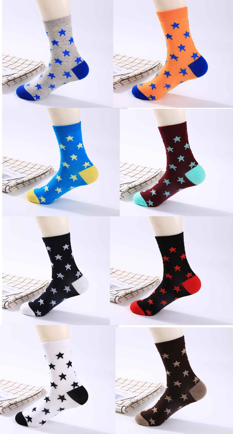 Cotton Men Spring Autumn Socks Fashionable Two Needle Breathable Casual Sport Solid Star Crew Socks