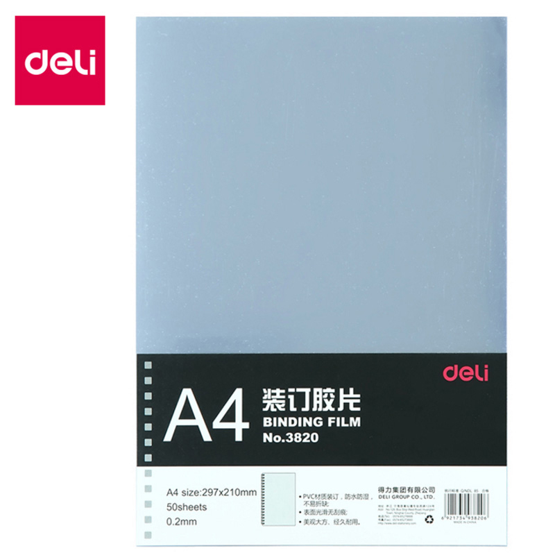 Deli 1pcs A4 Binding Film Transparent PVC Film Punch Binding Cover Paper Plastic Binding Cover 50 Sheet Puncher Document Folders