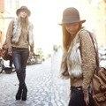 2014 Горячие Продажа Женщины моды короткий дизайн женский искусственного меха лисы жилет Атласный жилет верхняя одежда плюс размер меховой жилет пальто женщин 34