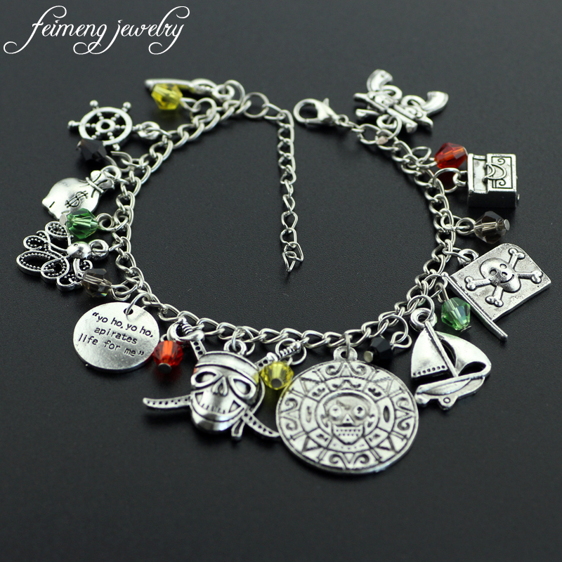 Feimeng Jewelry Pirates Of The Caribbean Charm Bracelet Skull Coin Octopus Anchor For Women Fashion Accessories