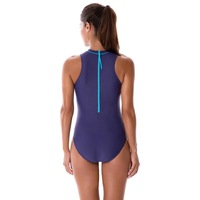 Women's Classic one piece sports swimsuit Swim Surf swimwear Zip Behind